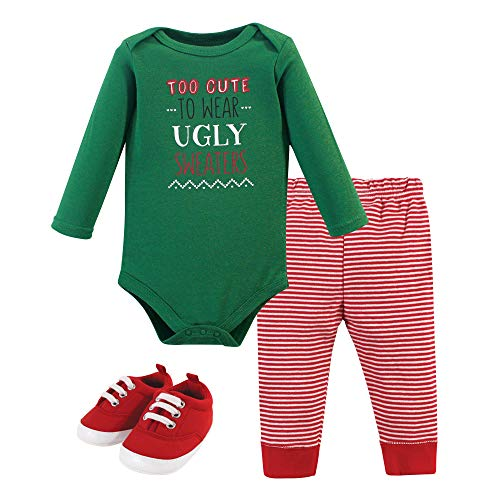 Little Treasure Unisex Baby Cotton Bodysuit, Pant and Shoe Set, Ugly Sweater, 6-9 Months