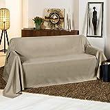 Beautissu Manta Romantica 210x280 cm en óptica de piel de ante como cobertor de sofá manta de día Plaid en natural