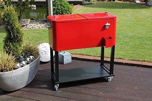 """Beauty.Scouts Retro Kühlbox \""""Retro Freeze\"""" rot Gartenkühlschrank auf Rollen 2-geteilter Deckel 76 Liter Fassungsvermögen BHT ca. 39x84x79 cm"""
