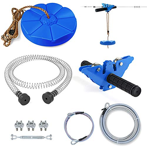 Aystkniet 98FT Zipline Kits for Backyard Up to 280lb with 304 Stainless Steel Cable, Ziplines Spring Brake, Thickened Seat and Zip line Trolley with Handle for Playground Entertainment Equipment