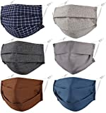 Pleated Face Mask Reusable Washable Cloth Cotton Fabric for Male Men Adult Unisex Breathable Comfortable Thin Adjustable Earloop Dust Athletic Sport Running Gym Exercise 3 Ply 6 Pack Facemask
