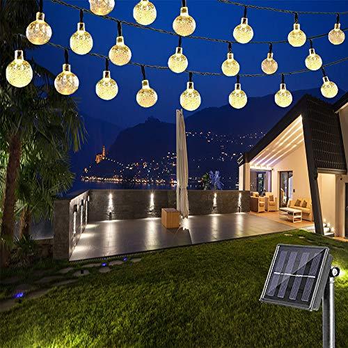 Nurkoo LED Solar Lichterkette 7.5M 40 LEDs Kugel 8 Modi IP65 Wasserdicht Warmweiß Lichterkette mit Lichtsensor, Kristallbälle für Garten Terrasse Hof Haus Party Aussen Zaun