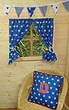 Vorhänge für Jungenspielhaus  ~ blaue Sterne ~ mit Raffhaltern & Beschlägen ~...