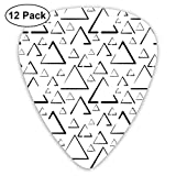 Guitar Picks12pcs Plectrum (0.46mm-0.96mm), Hand Drawn Triangles Creative Abstract Minimalist Urban Style Artisan Print,For Your Guitar or Ukulele