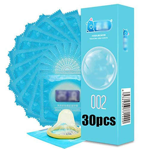 30 PCS Ultradunne Condom for mannen smeren Condom Veiliger Anticonceptie Ultradunne Natural Rubber Latex gemakkelijk te gebruiken Condooms (Color : 30pcs)