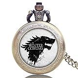 Reloj de bolsillo para hombre, relojes de juego de tronos, collar clásico vintage de cuarzo, reloj de bolsillo, regalo único para hombres