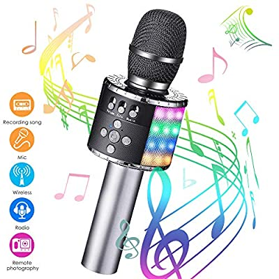 GLIME Wireless Karaoke Microphone bluetooth Portable Handheld LED Lights Speaker Radio Camera Shutter Remote Control Recording Song Compatible with Android & iOS Devices for Kids Christmas Gifts Black