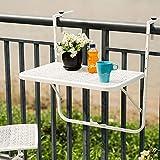Mesas auxiliares para exteriores, balcón plegable para colgar, mesa de bar ajustable, mesa de jardín, mesa de comedor de computadora (color blanco, tamaño: 40 x 60 cm)
