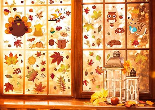Tuopuda Herbst Fensterbilder Erntedankfest Fensterdeko Herbst Blätter Fensteraufkleber Ahornblätter Eicheln Fenster Sticker Deko für Thanksgiving Herbst Party Zubehör Kinderzimmer Cafe Buchhandlung