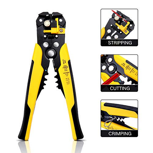 Wire Stripper, DANIU Stripper Cutter AWG10-24 Compound Automatic Wire Stripper Plier 3-in-1 Hand...