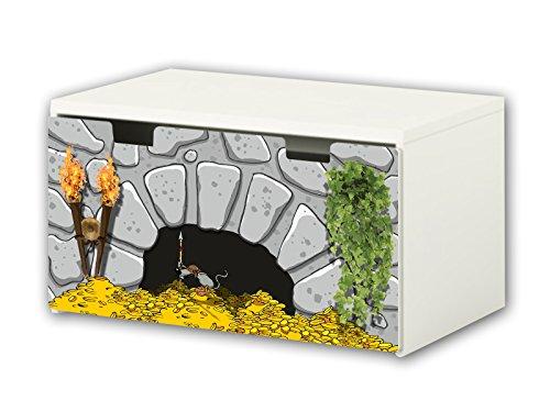 Stikkipix Ritter Möbelfolie | BT34 | Möbelaufkleber mit Ritter-Motiv | passend für die Kinderzimmer Banktruhe STUVA von IKEA (90 x 50 cm) | Möbel Nicht Inklusive