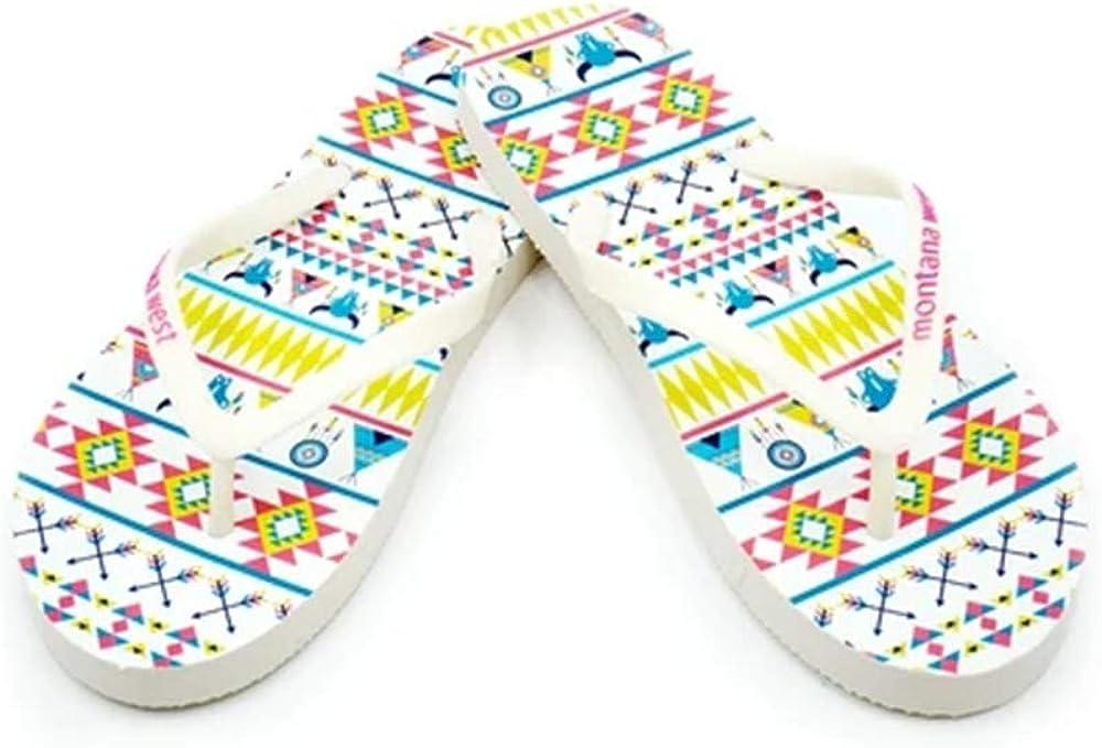 Montana West Flip Flops for Women Western Aztec Concho Patriotic Wedge Sandals Summer Flat Flip Flops