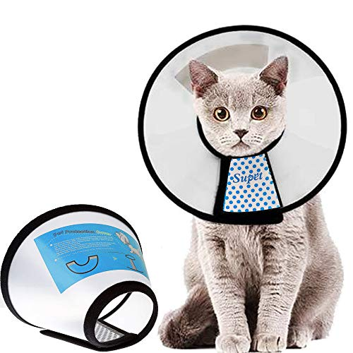 Supet Cat Cone Adjustable Pet Cone Pet Recovery Collar Comfy Pet Cone Collar Protective Collar for After Surgery Anti-Bite Lick Wound Healing Safety Practical Plastic E-Collar for Cats Puppy Rabbit