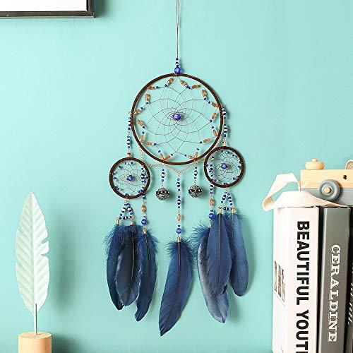 Nice Dream Boho Traumfänger, Handgemachte Dreamcatcher mit Blau Federn, Wandbehang Vintage Hochzeit Hauptdekorationen 60cm Lang (Blau)
