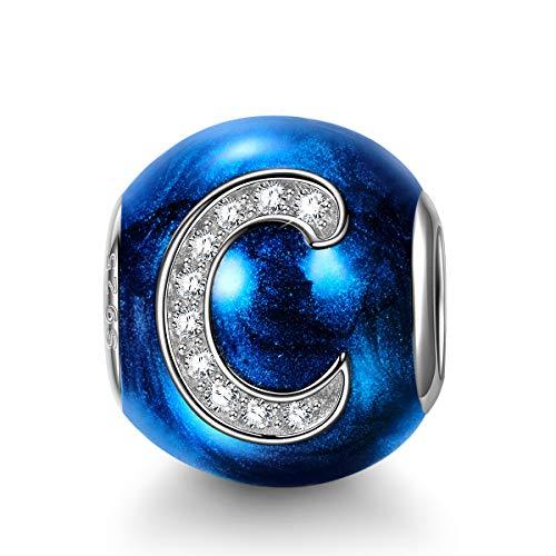 NINAQUEEN Charms per Pandora Charm Nuovo Ciondolo Lettera C Blu Argento 925 Regalo Donna Zirconia Smalto Compatibile con Charms Bracciali Europei, con Confezione Regalo