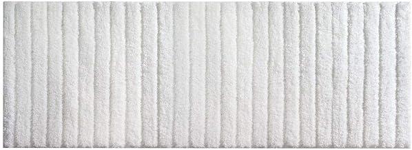 mDesign Soft Microfiber Non-Slip Bathroom Mat/Rug for Bathroom Vanity Bathtub/Shower Dorm Room - 60 x 21 White