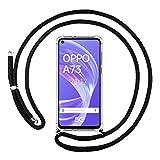 Funda Colgante Transparente para OPPO A73 5G con Cordon Negro