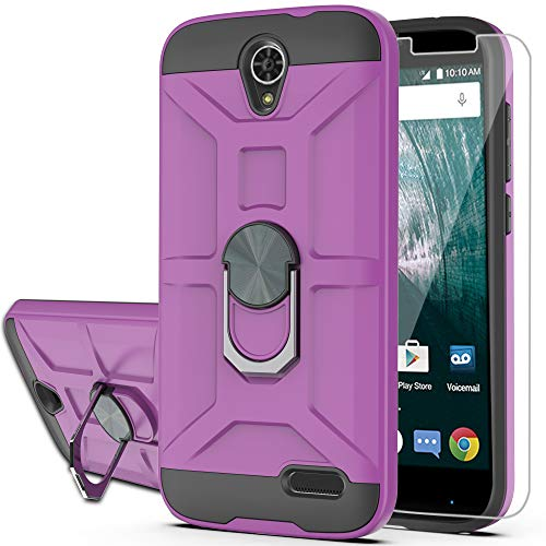 YmhxcY Case for ZTE ZMAX Grand LTE Grand X3 ZMAX Champ Warp 7 Avid 916 Z959 with HD Screen Protector 360 Degree Rotating Ring Kickstand Holder Dual Layers of Shockproof Phone Case for N9519-ZS Purple