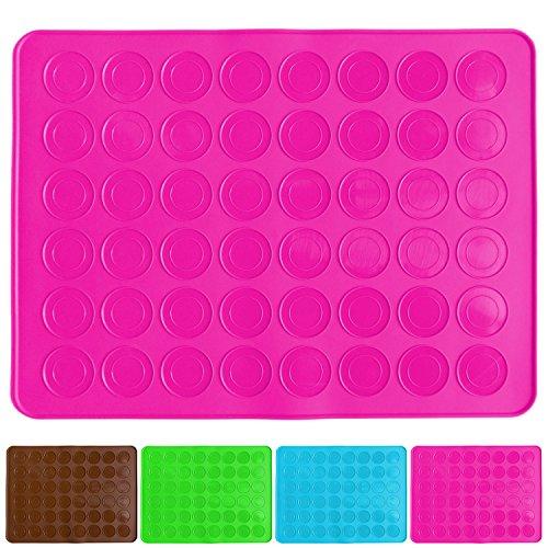 Belmalia Molde para Macarons de Silicona para 24 Macarons Perfectos, 48 Huecos, Capa Antiadherente 38x28cm Fucsia