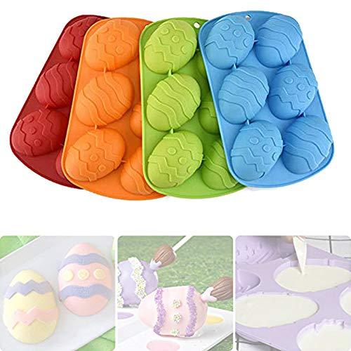 6 cavità pasquali a forma di uovo di Pasqua, stampo per dolci in silicone, strumenti per la decorazione di torte fai da te pasquali, colori assortiti