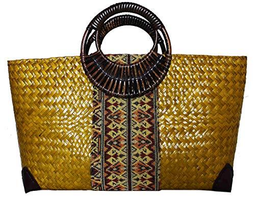 Rotfuchs Damentasche Handtasche Strohtasche Einkaufstasche Strandtasche mehrere Farbe Handgefertigt aus Schilf (grün gelb)