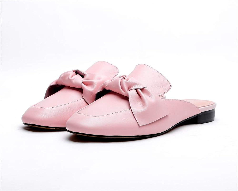 MENGLTX High Heels Sandalen Frauen Hausschuhe Aus Echtem Leder Sommer Schuhe Süe Bowknot Mode Schuhe Quadratische Ferse Beilufige Maultiere Schuhe