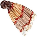 Lorenzo Cana Pashmina Schal Schaltuch jacquard - gewebt Paisley Muster 70 x 180 cm Tuch Naturfaser Camel Braun Rot 9333677