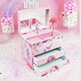Kid Girl Musical Jewelry Box with Mirror and 2 Pullout Drawers and Spinning Unicorn Pink Color Flower Design Bracelet Necklace Ring Storage Case Best Gift