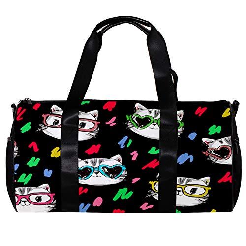 Bolsa de deporte redonda con correa de hombro desmontable, diseño de gato con gafas de sol, bolsa de entrenamiento para mujeres y hombres
