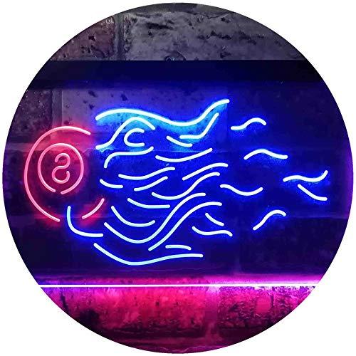 ADV PRO 8 Ball Fire Billiards Rack Pool Dual Color LED Barlicht Neonlicht Lichtwerbung Neon Sign Rot & blau 600 x 400mm st6s64-i3384-rb