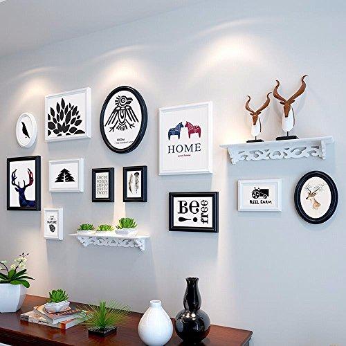 WUXK Fotowand in Europese stijl van massief hout foto, wandfoto, creatieve slaapkamer, woonkamer, grote fotolijst, wandcombinatie, wand