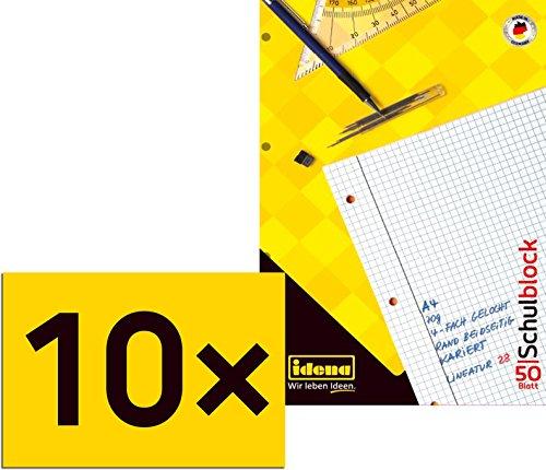 10 Schulblöcke/Schreibblöcke kariert DIN A4 / 50 Blatt je Block