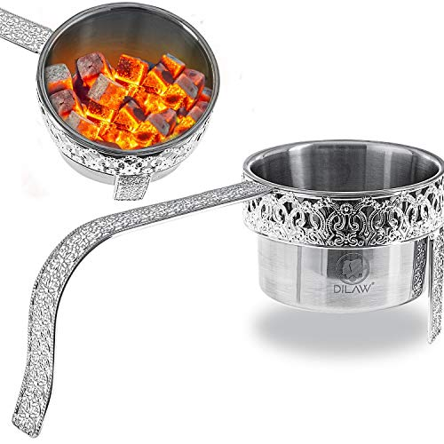 DILAW® Shisha Kohlekorb Oriental Flach Edelstahl Kohlebehälter für Shisha Kohle & Grill Kohle Char-Basket Holzkohlekörbe mit Sicherheitsgriff Hookah Zubehör, Farbe:Silber