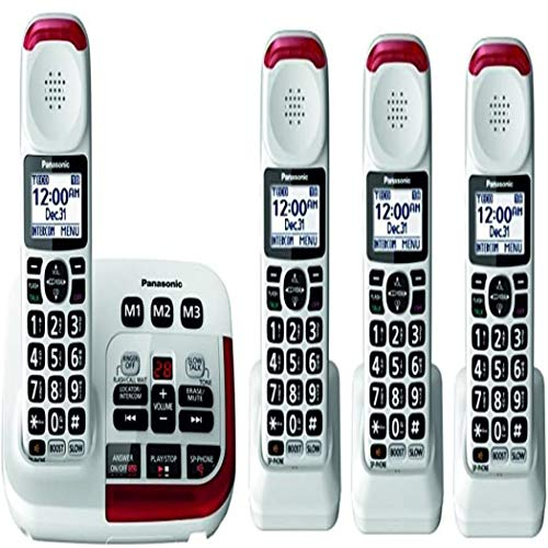 Panasonic KX-TGM420W + (3)KX-TGMA44W Amplified Cordless Phone with Digital Answering Machine Expandable upto 6 Handsets and Voice Volume Booster 40 dB