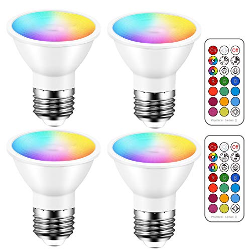 LED Light Bulbs 40 Watt Equivalent Color Changing E26 Screw 45°, 12 Colors Dimmable Warm White 2700K RGB LED Spot Light Bulb with 5W Remote Control,(Pack of 4)