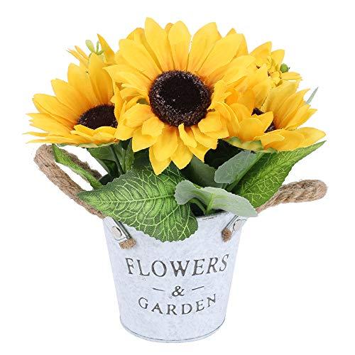 XHXSTORE Künstliche Sonnenblumen Kunstblumen im Topf Künstliche Blumen Deko Plastikblumen Unechte Blumen Herbstdeko für Balkon Draussen Innen Tischdeko Hochzeit Party