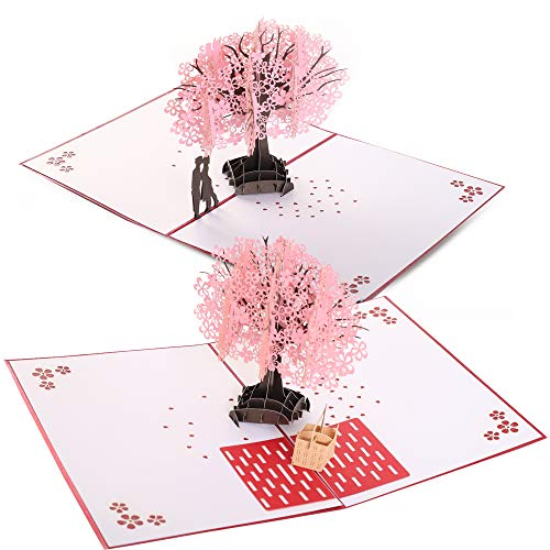 Handmade 3D Pop Up Cards - Pink Garden 3D Set - Handmade Pop Up Greeting Card for Your Loved Ones, Wedding Anniversary Card for Couple, Valentine Day, Happy Birthday Cards (Set of 2)