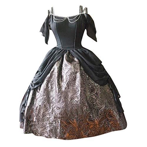 SALUCIA Damen Rokoko Barock Prinzessin Kleid Retro Stick Schulterfrei Knielang Kostüm Gewand...