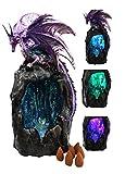 Gifts & Decor Ebros Purple Azurite Quartz Dragon Climbing On Gemstone Mountain Backflow Incense Burner Figurine Faux Stone