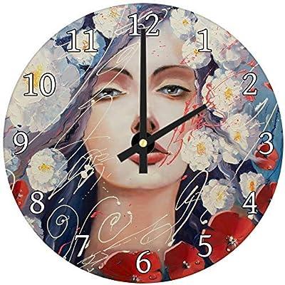hiusan Red White Blue Floral Woman Wood Wall Clocks Modern Decorative Living Room,Wall Clocks