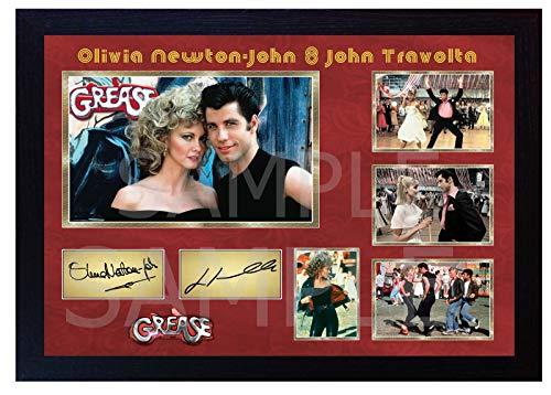 SGH SERVICES New! Póster Enmarcado con autógrafo de Olivia Newton-John Grease John Travolta