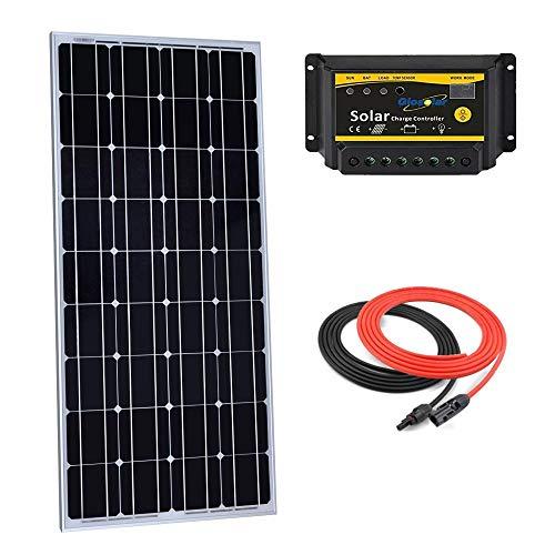 Giosolar Kit panneau solaire monocristallin 100 W 12 V avec contrôleur de charge LED 10 A + câble rouge/noir pour camping-car bateau hors réseau