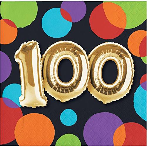 Balloon 100th Birthday Beverage Napkins, 48 Count