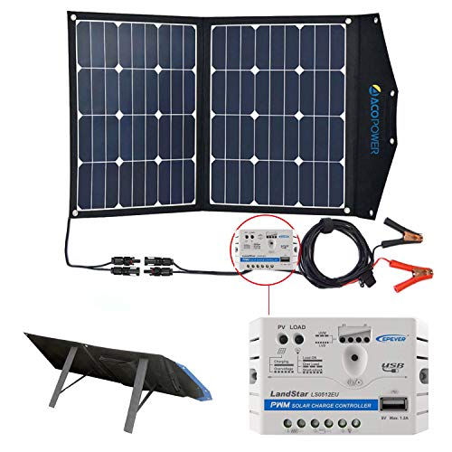 ACOPOWER 12V 70 Watt Foldable Solar Panel Kit; Portable Solar Charger Suitcase 2x35W Monocrystalline Module & 5A Charge Controller RV, Boats, Camping; w USB 5V Output as Phone Charger