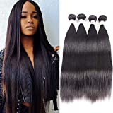 Brazilian Virgin Straight Hair 4 Bundles 14 16 18 20 Inch 100% Unprocessed Human Hair Bundles Straight Hair Extensions Double Strong Weft