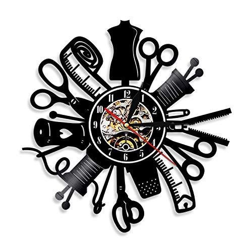 LBJZD Reloj de Pared Herramientas para Reparar Silueta Led Retroiluminación Costura Vinilo Moderno Reloj De Pared Cambio De Color Decoración De Sala De Estar Control Remoto Sin Luz Led