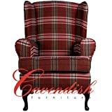 Cavendish Furniture Deep ortopedica sedia sedile in rosso, seduta poltrona con schienale alto ergonomico, sostegno posturale. Poltrona imbottita, Red Tartan Light Oak, 21 x 18 inches
