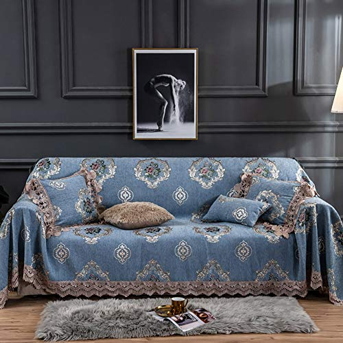 KWOPA Tissu Chenille Jacquard Sofa Slipcovers,Anti-Rides 1-Morceau Serviette Canapé,Lavable Sofa Protector Sofa Couch Cover for Living Room-E 180x260cm(71x102inch)