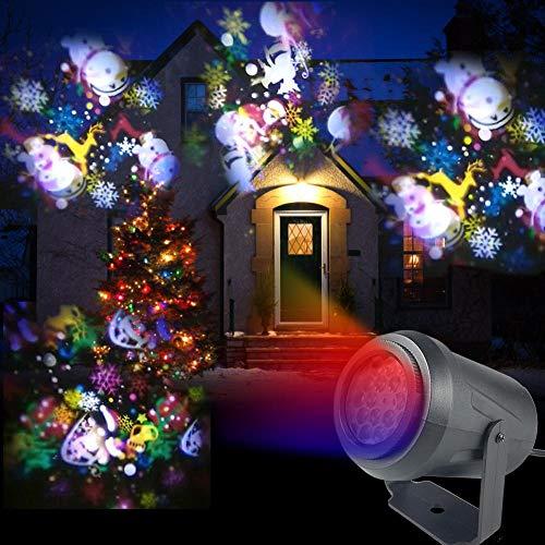 iBoosila - Proyector de Navidad con Luces LED de proyección, 16 Patrones, Resistente al Agua, lámpara de Navidad,...
