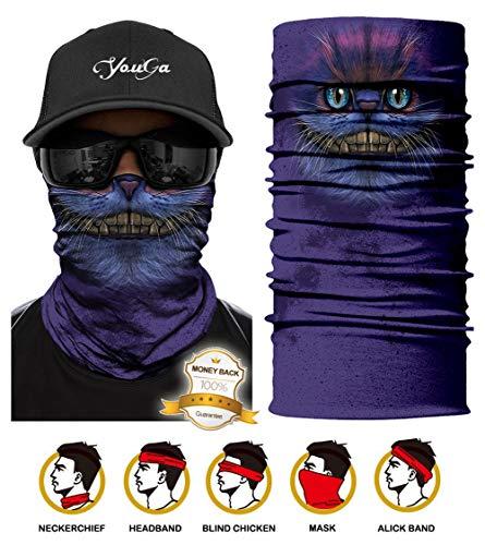 Face Shields - Bedrucktes Multifunktionstuch, Damen Herren Elastische Halstuch Nahtlose Sturmhaube Sturmmaske Schlauchtuch UV Residenz für Yoga Laufen Wandern Radfahren Motorradfahren (Lila Katze)